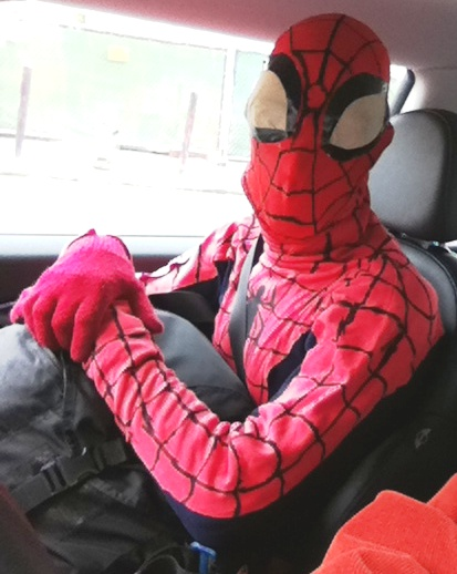 Spidey gets a ride to work...