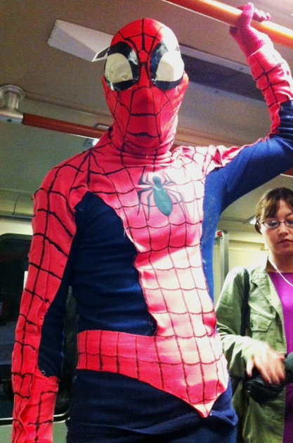 Spidey takes BART home...